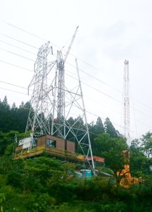 岐阜県関市板取 鉄塔建設工事 送電線