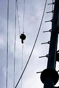岐阜県関市板取 ラインマン 架線電工 鉄塔建設 送電線工事