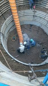 岐阜県関市板取 現場 鉄塔建設工事 送電線 岩盤 基礎工事 削岩機 掘削中