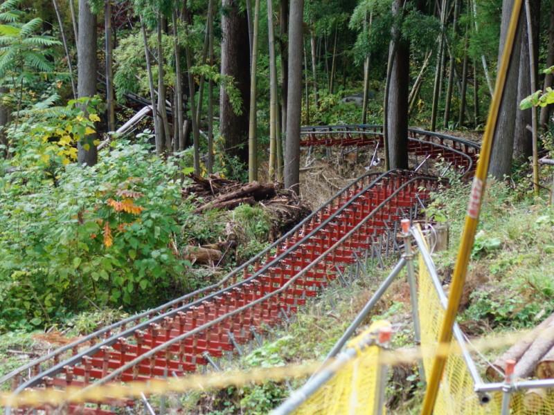 モノレール 資材運搬用 鉄塔 建設 基礎工事 現場 岐阜県関市板取