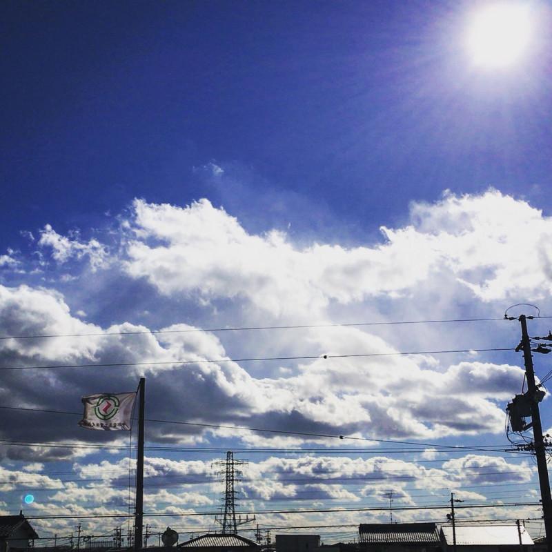 伊吹山 冬 雲 空 岐阜県 雪 晴れ 中部電気工業 社旗