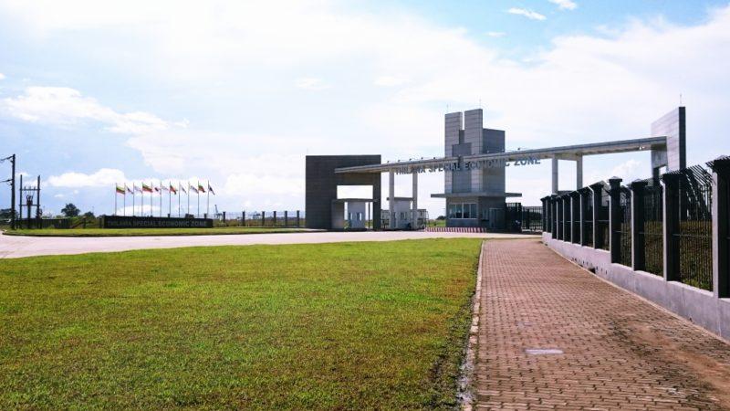 ミャンマー 視察  ティラワ工業団地 入口 架空送電線工事 新設工事 経済特別区 開発 ヤンゴン