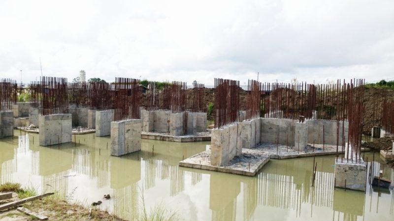 ミャンマー 企業 施工 現場 見学 視察 新築 工事 ビル 建設 建築 基礎部分