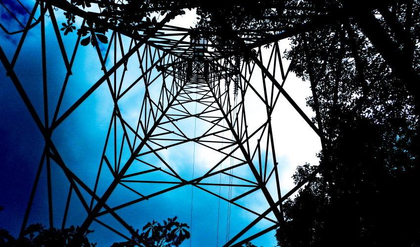 鉄塔の幾何学模様と枝葉の影