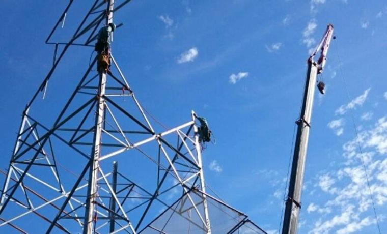 停電工事(コンクリート柱から鉄塔へ)