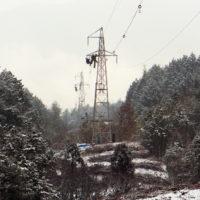 停電工事 鉄塔 架線電工 送電線 岐阜県恵那市