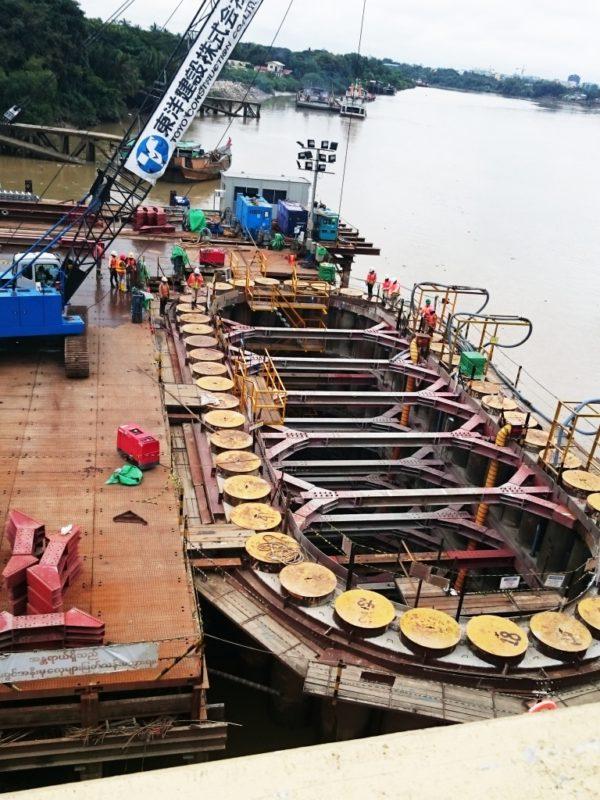 新タケタ橋 建設 状況 ミャンマー 視察 工事現場