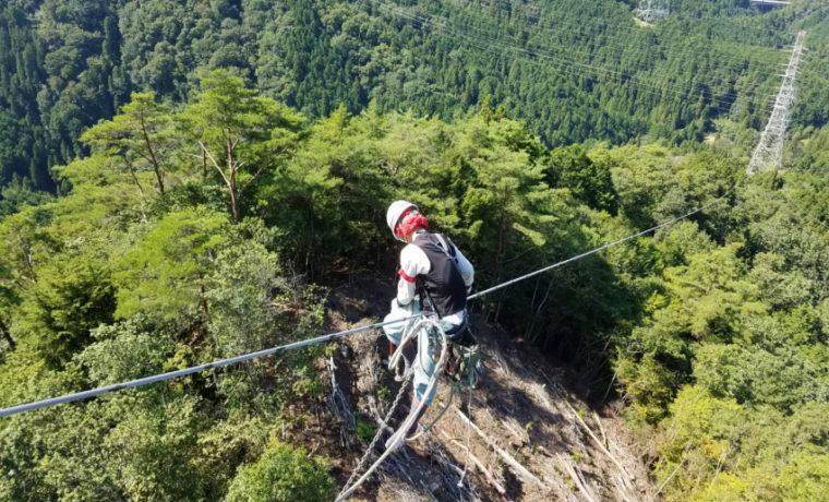 富之保分岐線での架線電工作業風景