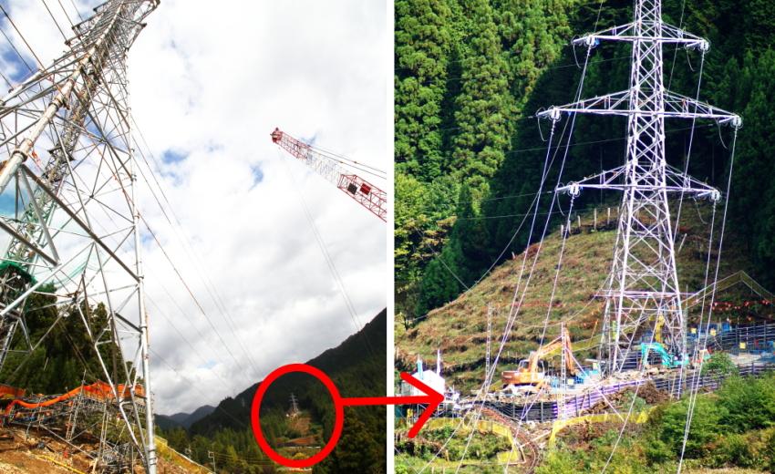 鉄塔 建設 基礎工事 現場 岐阜県関市板取